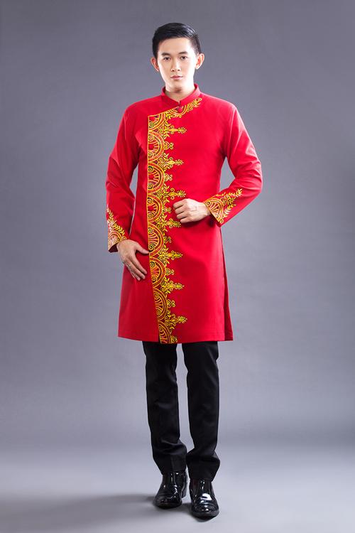 Hình ảnh áo dài cách tân nam màu đỏ