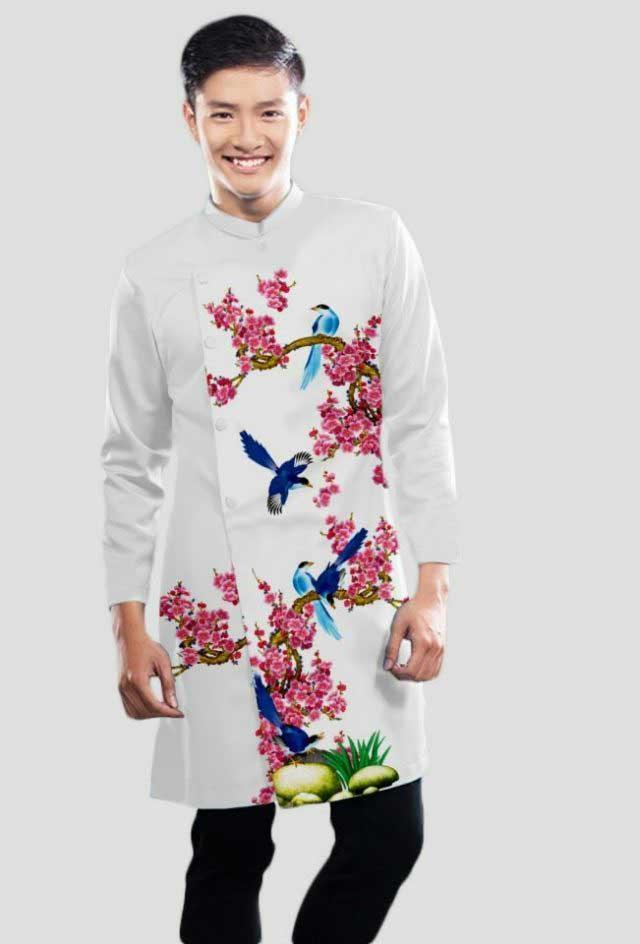 Hình ảnh áo dài cách tân nam màu trắng