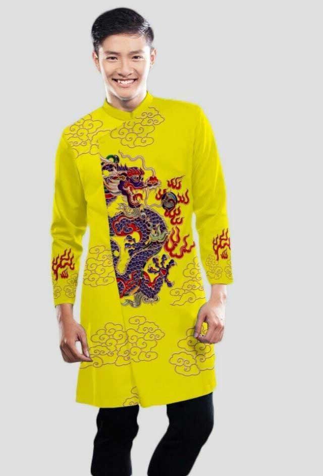 Hình ảnh áo dài cách tân nam màu vàng