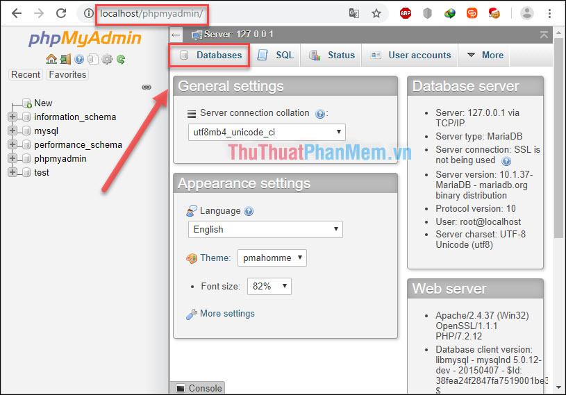 Mở giao diện quản lý localhost - Chọn Databases