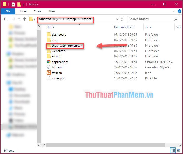 Mở thư mục C:xampphtdocs, tạo thư mục lưu trữ website với tên bất kỳ