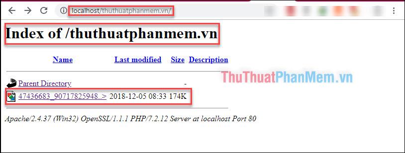 Mở trình duyệt web, truy cập theo đường dẫn http://localhost/tên-thư-mục-bạn-vừa-đặt