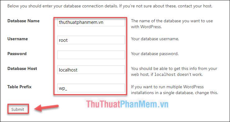 Nhập thông tin Database đã tạo - Nhấn Submit
