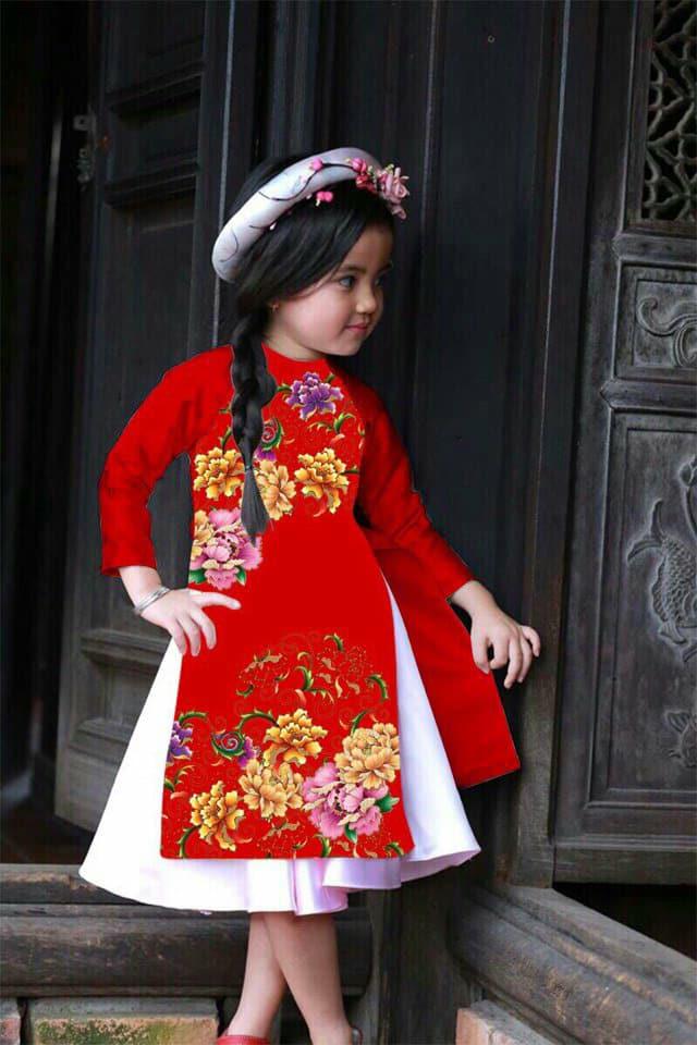 Set áo dài cách tân cho bé với họa tiết đẹp cho bé từ 9 đến 14 tuổi