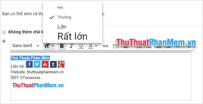 Thay đổi kích cỡ của ký tự với biểu tượng hai chữ T lớn nhỏ đứng cạnh nhau