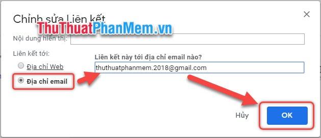 Tích xuống Địa chỉ email, rồi thêm địa chỉ email vào khung trống