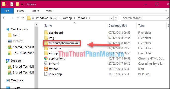 Truy cập thư mục C:xampphtdocs và tạo một thư mục mới với tên bất kỳ