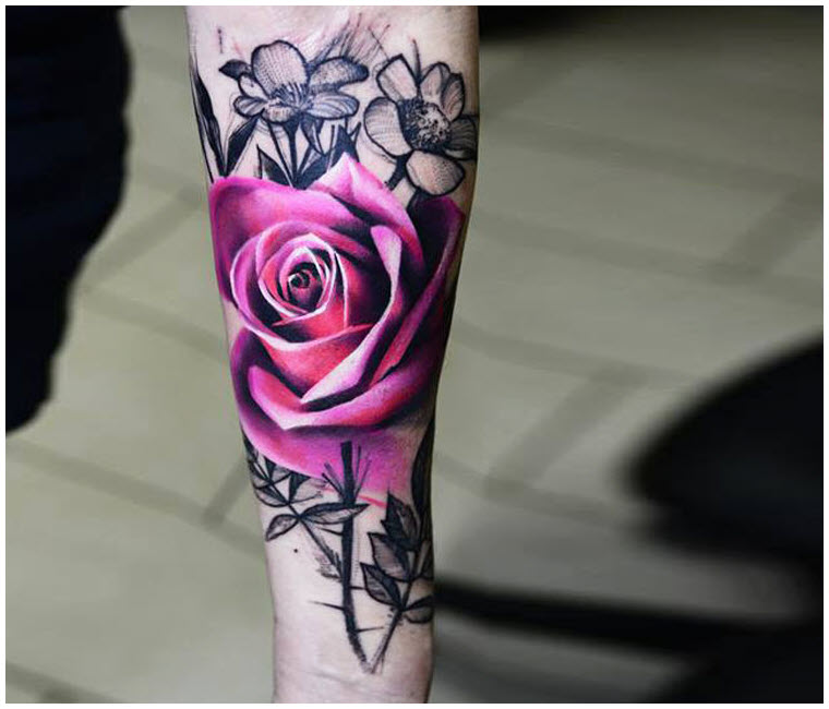 Ảnh hình xăm hoa hồng độc đáo