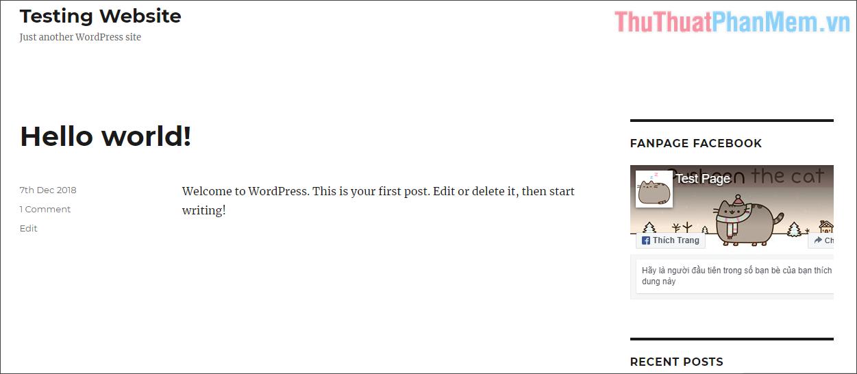 Chèn Fanpage trên website WordPress