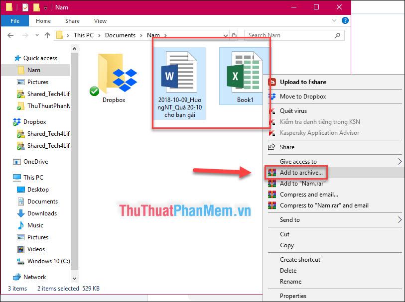 """Chọn file hoặc nhiều file - Nhấn chuột phải rồi chọn """"Add to archive..."""""""