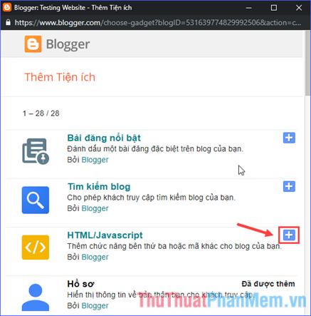 Chọn HTML/JavaScript