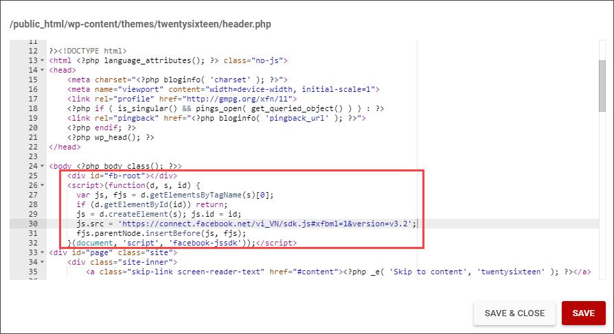 """Copy đoạn mã thứ nhất, dán vào ngay sau thẻ <body>"""" title=""""Copy đoạn mã thứ nhất, dán vào ngay sau thẻ <body>"""" width=""""894″ height=""""487″></p> <p>+ Copy đoạn mã thứ hai, dán vào bất kì nơi  nào bạn muốn hiển thị trên website (thường ở Sidebar hoặc Footer).</p> <p>  Ví dụ với website WordPress, kéo widget dạng <strong>Custom HTML</strong> đến một vị trí thích hợp  trên Sidebar, đặt tên phần tiêu đề và dán đoạn mã thứ hai vào khung nội dung.  Lưu lại.</p> <p align="""