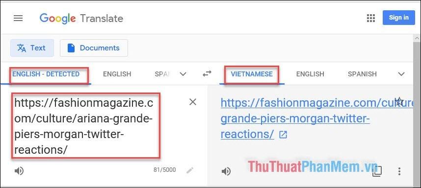 Copy rồi paste link trang web muốn dịch vào khung dịch của Google