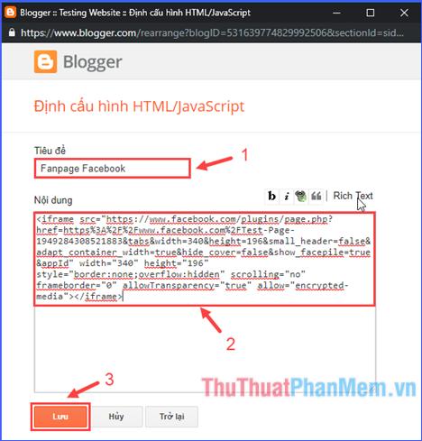 Dán đoạn mã vào khung nội dung, đặt tên phần tiêu đề và lưu lại