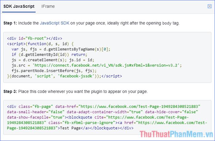 Dùng hai đoạn mã trong tab SDK JavaScript