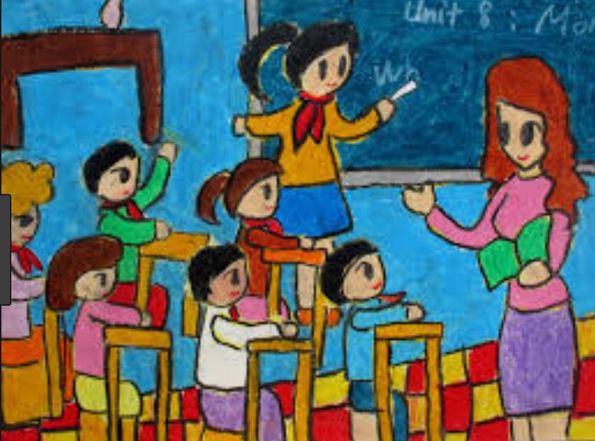 Em hãy vẽ một bức tranh đề tài học tập