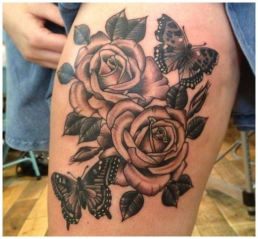Hìh xăm bướm hoa hồng trên đùi đẹp