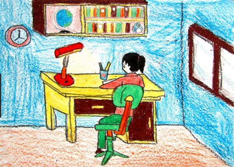 Hình ảnh tranh vẽ đề tài học tập tại nhà