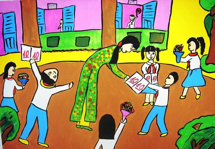 Hinh ảnh vẽ tranh đề tài học tập
