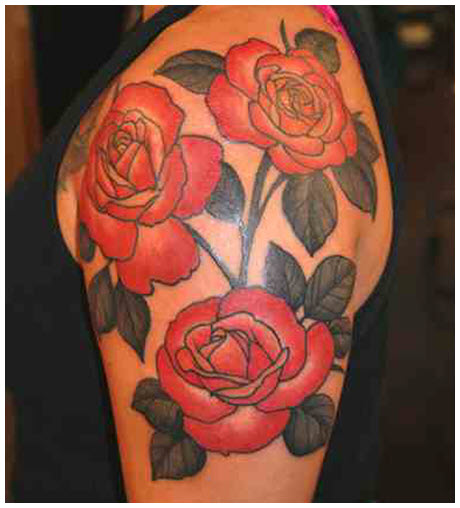 Hình xăm bông hoa hồng đẹp