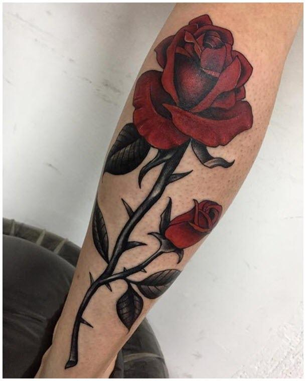 Hình xăm bông hoa và nụ hoa hồng đẹp