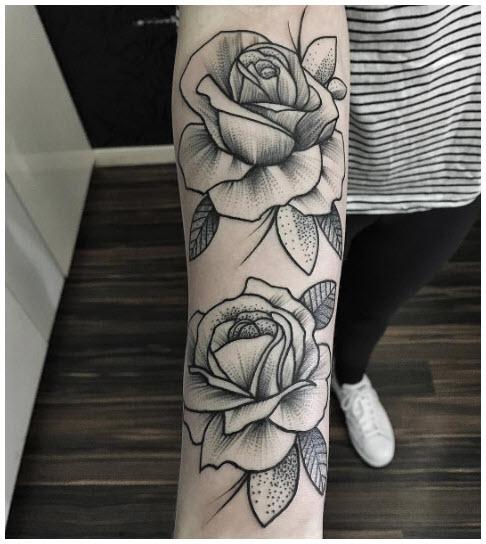 Hình xăm các bông hoa hồng trên cánh tay đẹp