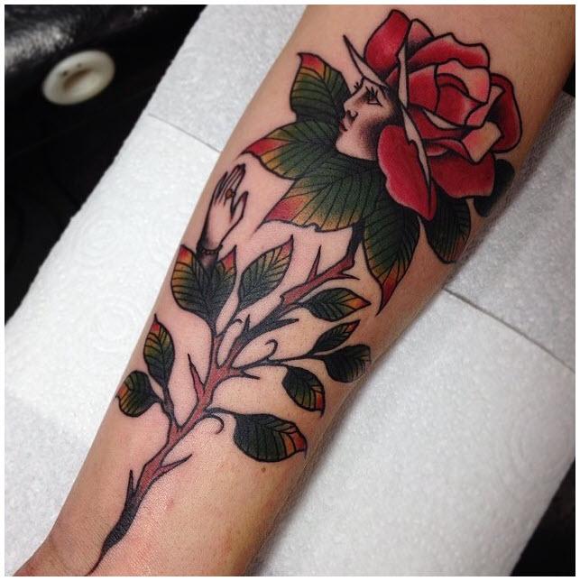 Hình xăm cô gái hoa hồng đẹp