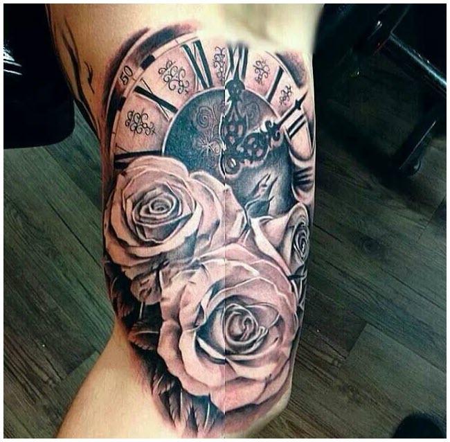 Hình xăm đồng hồ la mã với hoa hồng