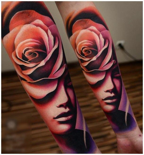 Hình xăm hoa hồng cô gái và hoa hồng trên cánh tay