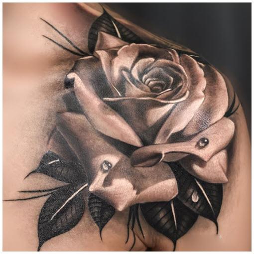 Hình xăm hoa hồng đen 3d đẹp