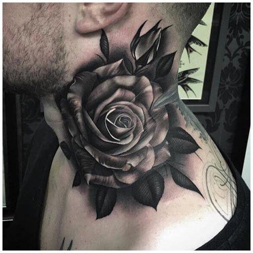 Hình xăm hoa hồng đen trắng trên cổ