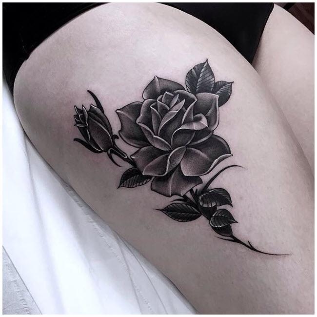 Hình xăm hoa hồng đen