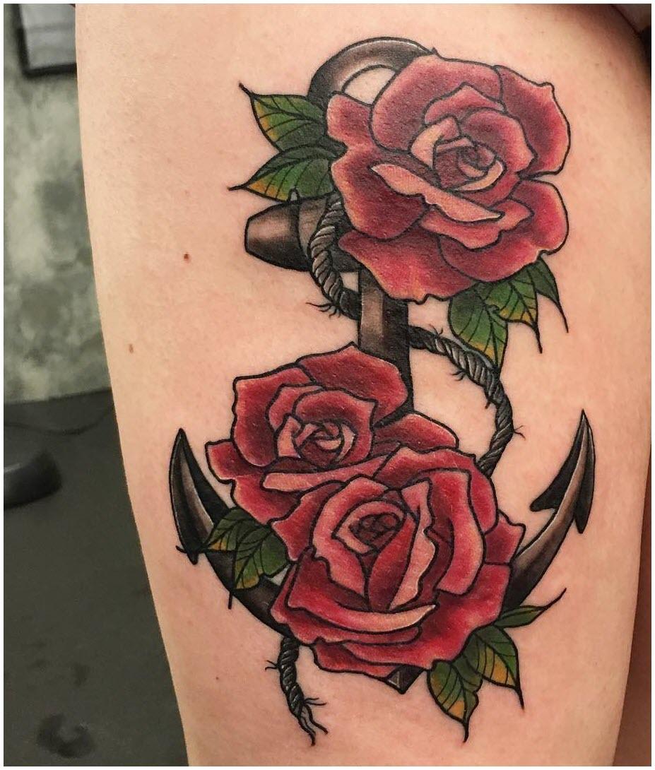 Hình xăm hoa hồng đẹp trên đùi cho nữ