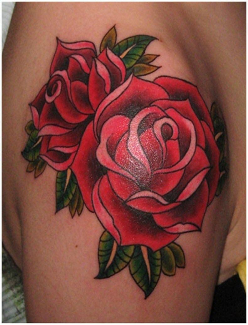 Hình xăm hoa hồng đỏ đẹp