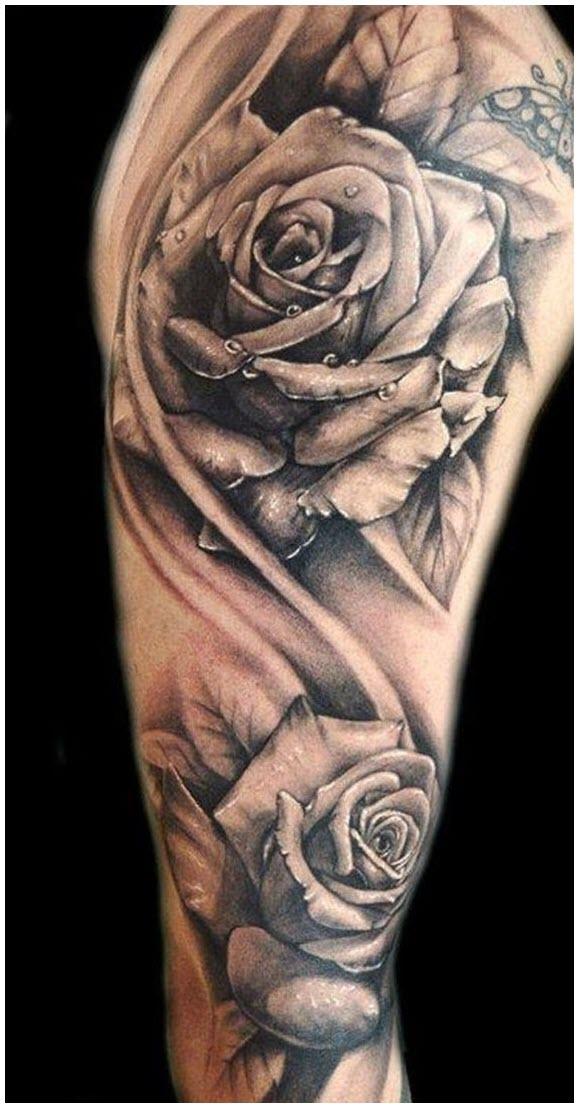 Hình xăm hoa hồng full tay