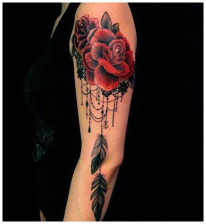 Hình xăm hoa hồng kín tay đẹp
