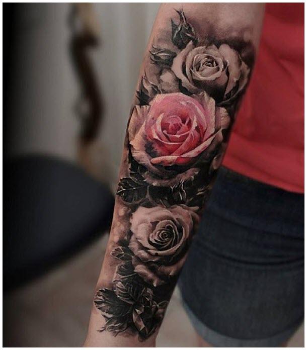 Hình xăm hoa hồng kín tay