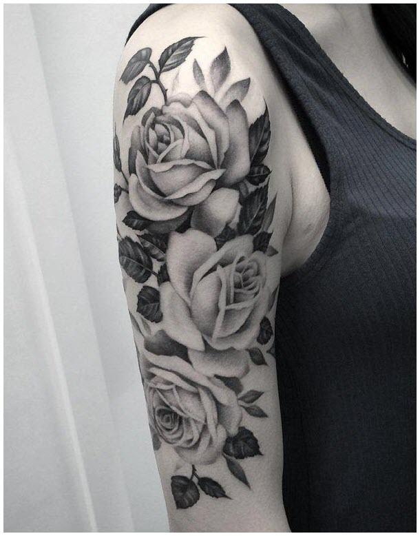 Hình xăm hoa hồng ở bắp tay