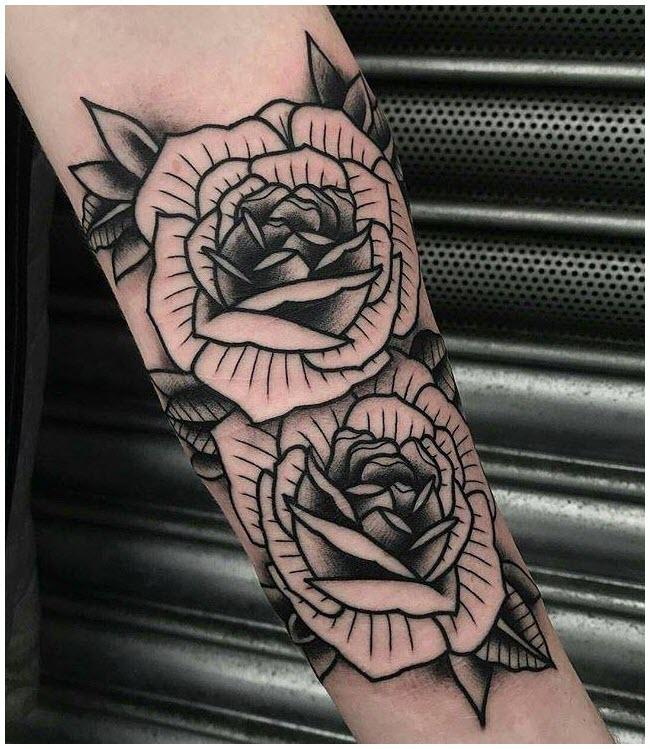 Hình xăm hoa hồng ở cánh tay đẹp