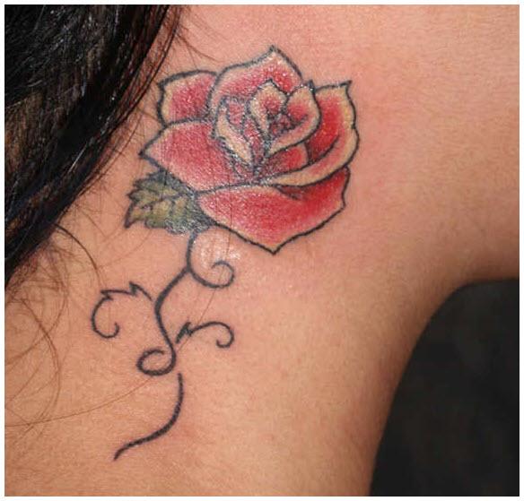 Hình xăm hoa hồng ở cổ