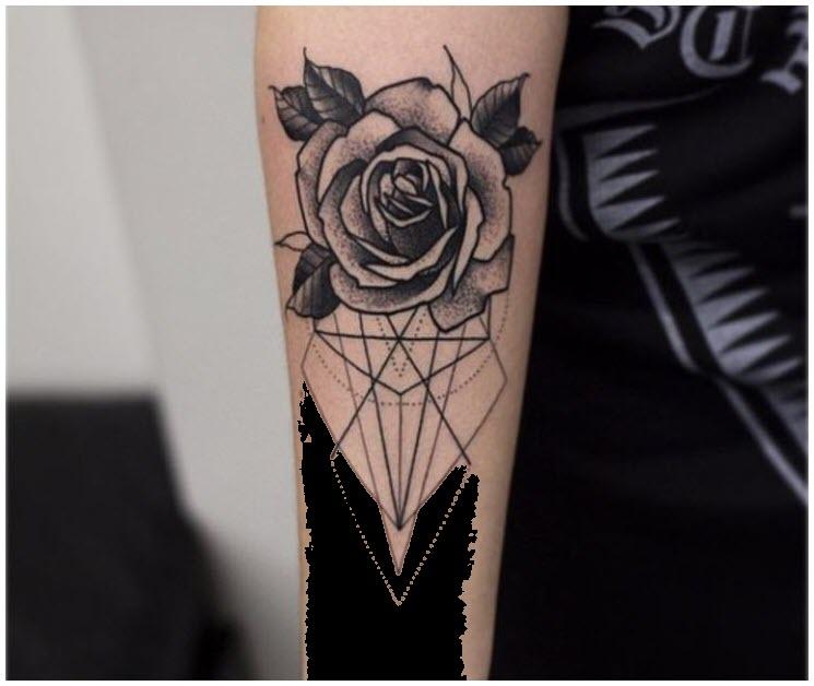 Hình xăm hoa hồng sáng tạo