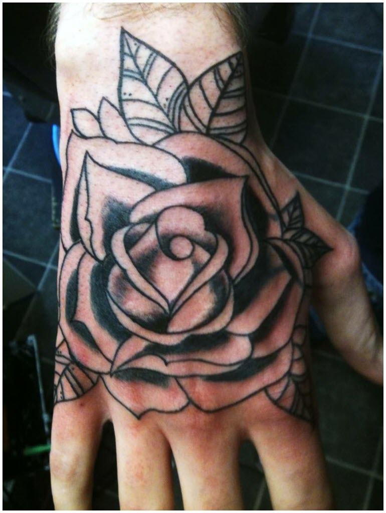 Hình xăm hoa hồng trên bàn tay