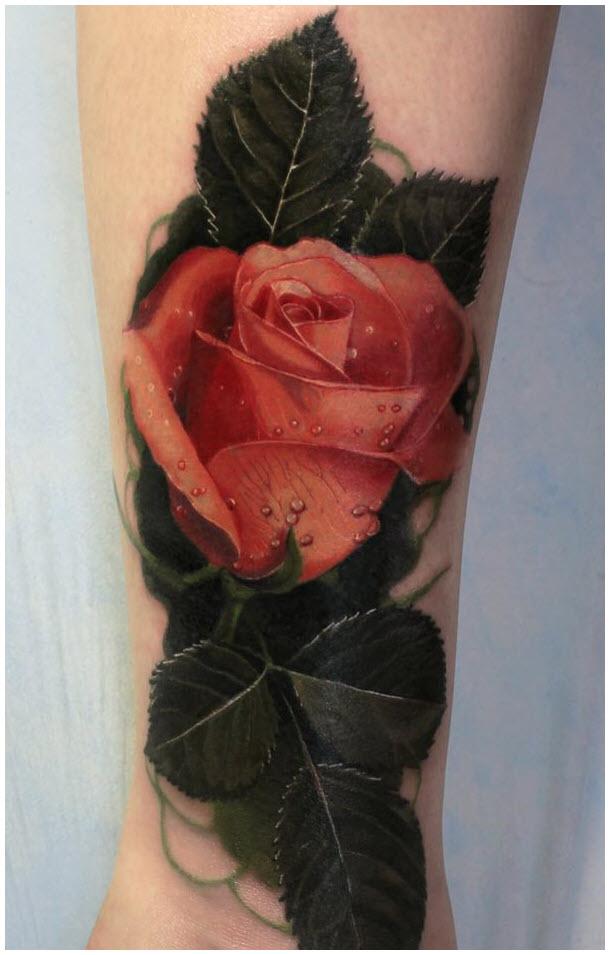 Hình xăm hoa hồng trên chân đẹp