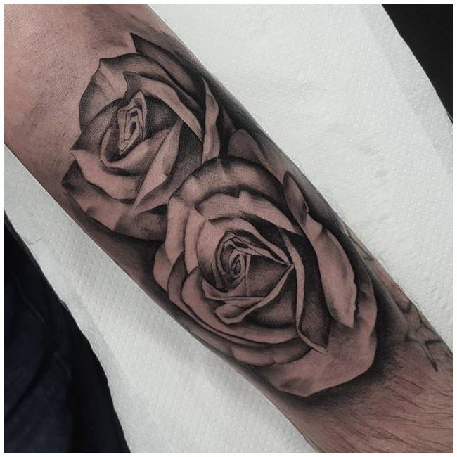 Hình xăm hoa hồng trên tay đẹp