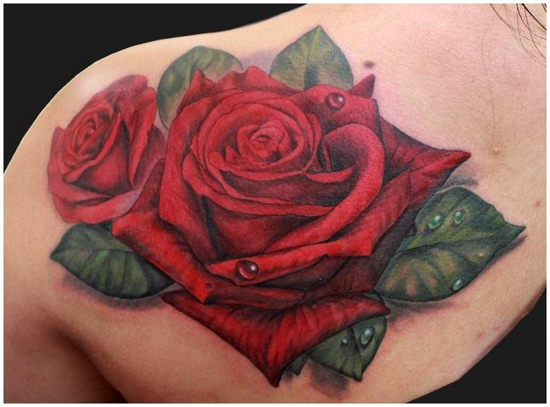 Hình xăm hoa hồng trên vai