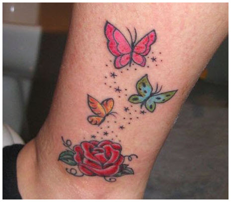 Hình xăm hoa hồng và bướm