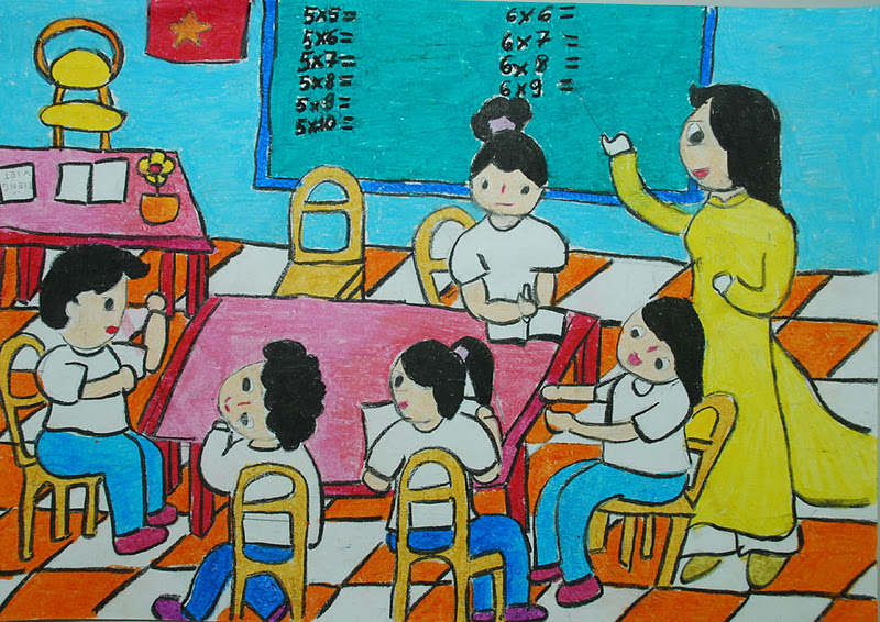 Mẫu vẽ tranh đề tài học tập lớp 6