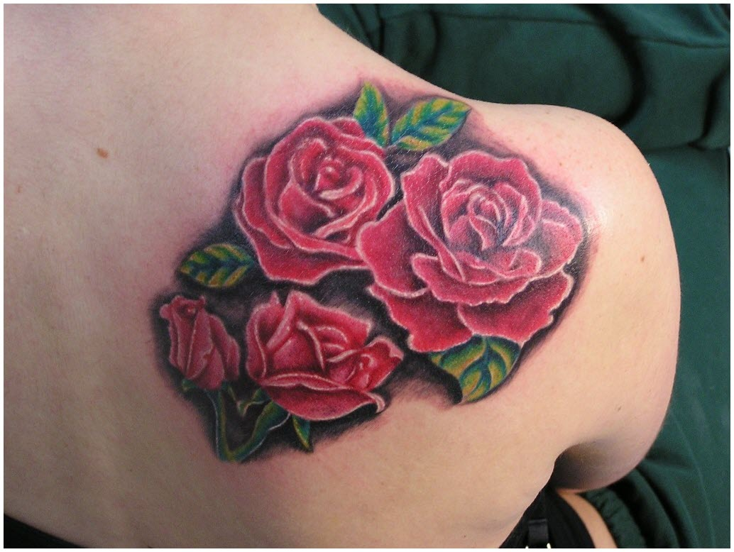 Name-And-Red-Rose-Tattoos-Behind-The-Shoulder-1