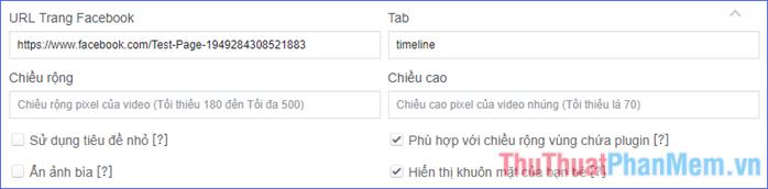 Nhập các thông tin và tuỳ chỉnh cho vùng hiển thị Fanpage