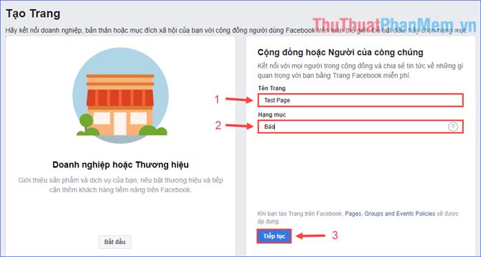 Nhập tên trang và hạng mục để mô tả trang, rồi click vào Tiếp tục